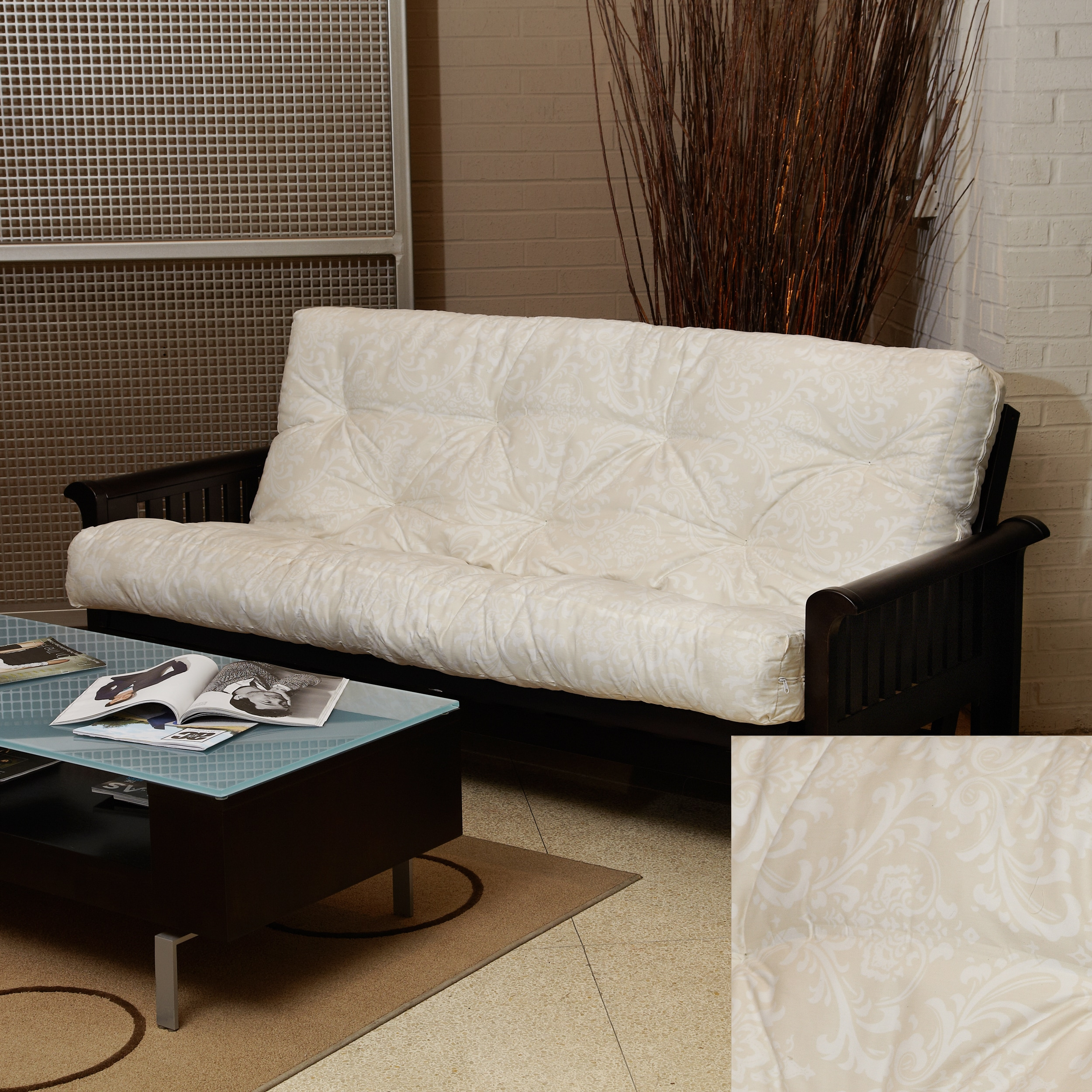 Beige Damask Full-Size 6-inch Futon Mattress