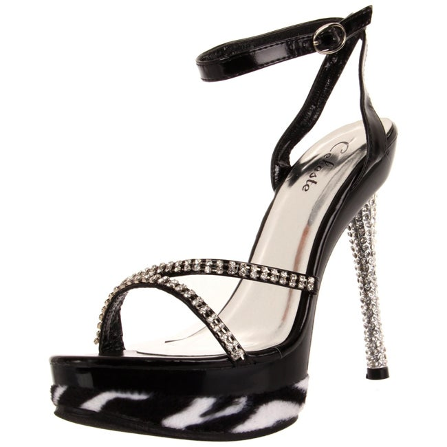 Celeste Women's 'Saseur-02' Black Rhinestone/ Zebra Heel