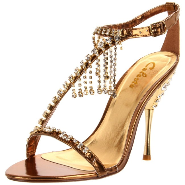 Celeste Women's 'Patricia-05' Bronze Crystal-draped T-strap Heel