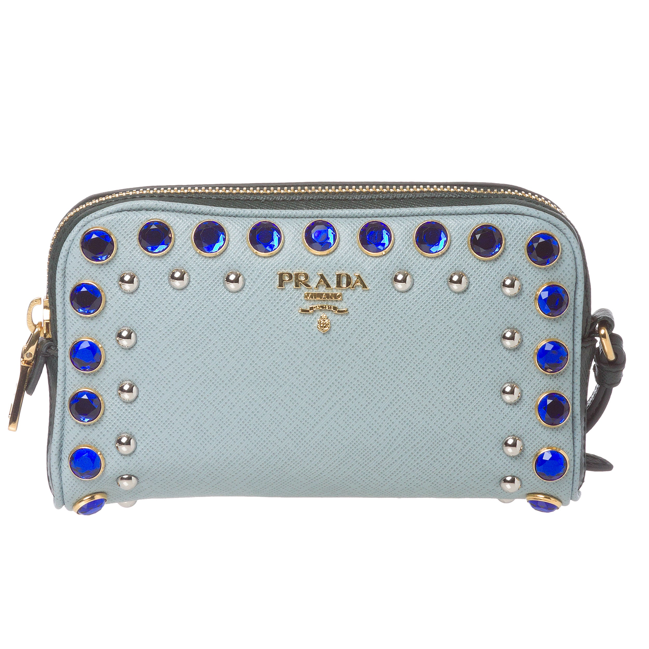 Prada Jeweled Light Blue Leather Wristlet