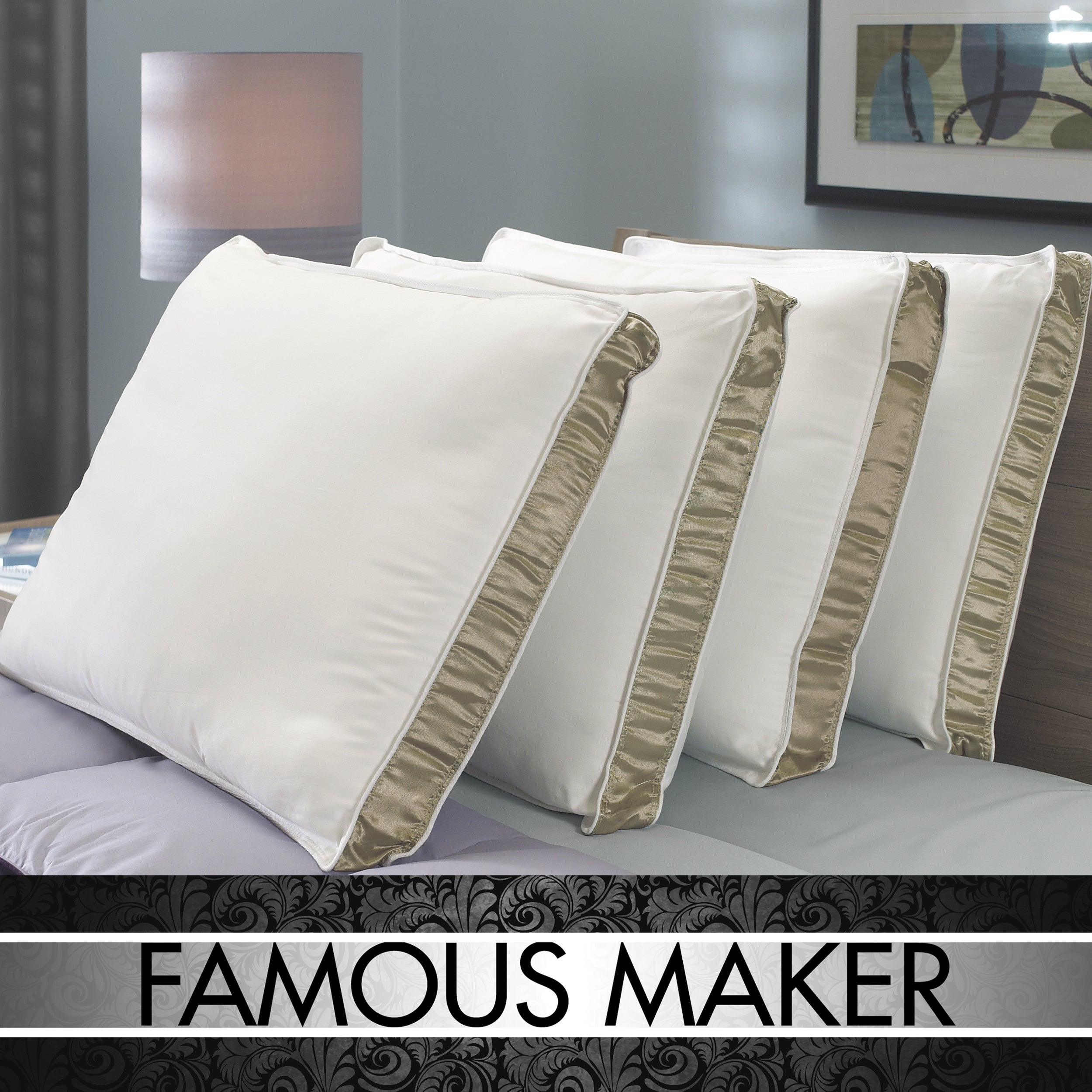 Famous Maker Plush Comfort Antimicrobial 300 Thread Count Pillows (Set of 4) - Thumbnail 0