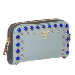 Prada Jeweled Light Blue Leather Wristlet - Thumbnail 1