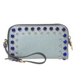 Prada Jeweled Light Blue Leather Wristlet - Thumbnail 2