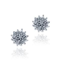 DB Designs Sterling Silver Diamond Accent Flower Earrings