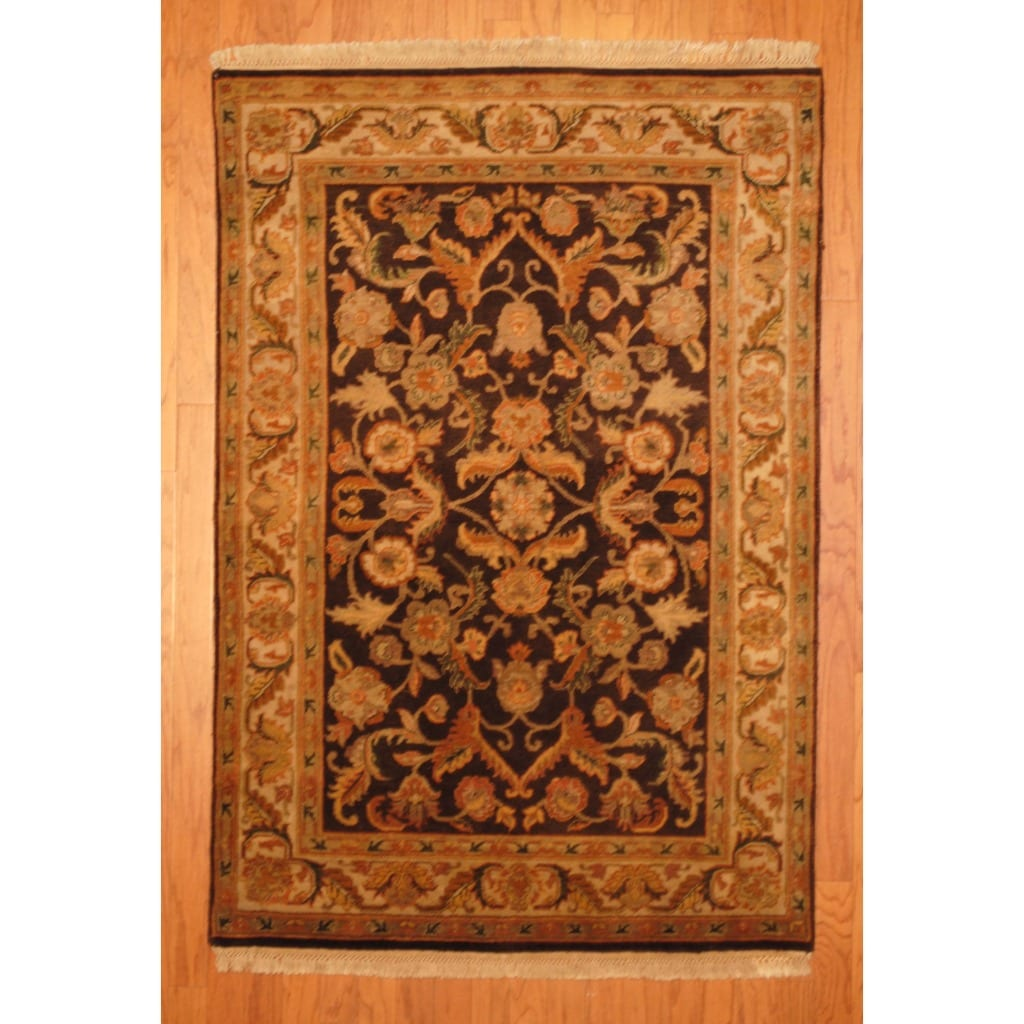 Indo Hand-knotted Mahal Brown/Gold Wool Rug (4' x 6')