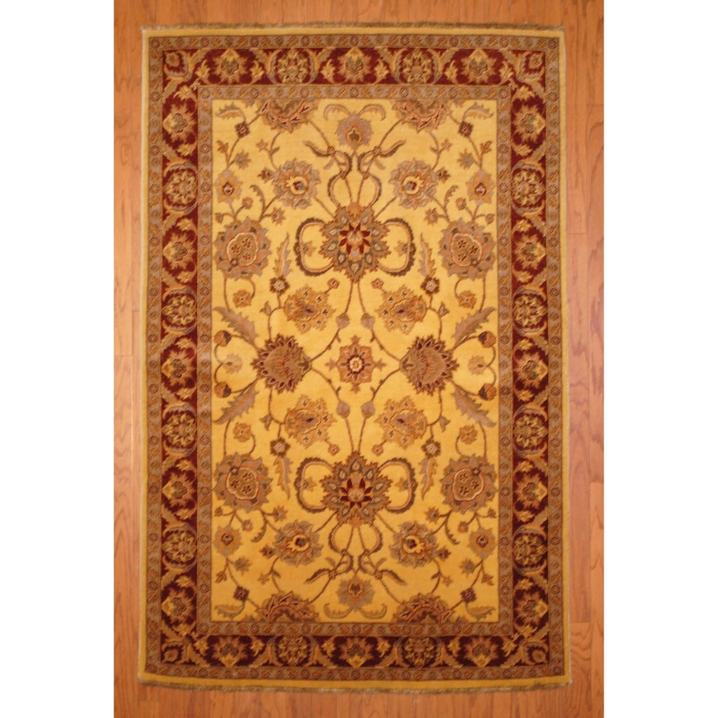 Afghan Hand-knotted Vegetable Dye Ivory/ Rust Wool Rug (4'2 x 6'6)