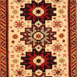Indo Hand-knotted Kazak Ivory/ Rust Wool Rug (4' x 6') - Thumbnail 1