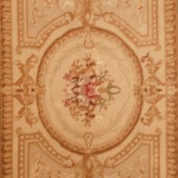Asian Hand-knotted Aubusson Beige/ Gold Wool Rug (4' x 6')