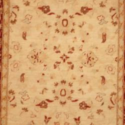Afghan Hand-knotted Vegetable Dye Ivory/ Rust Wool Rug (3'10 x 5'9) - Thumbnail 1