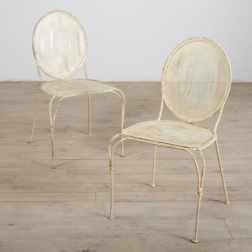 Set of 2 Antique White Mesh Dining Chairs (India)