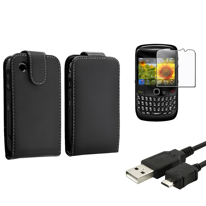 Leather Case/ Screen Protector/ USB Cable for BlackBerry Curve 8520