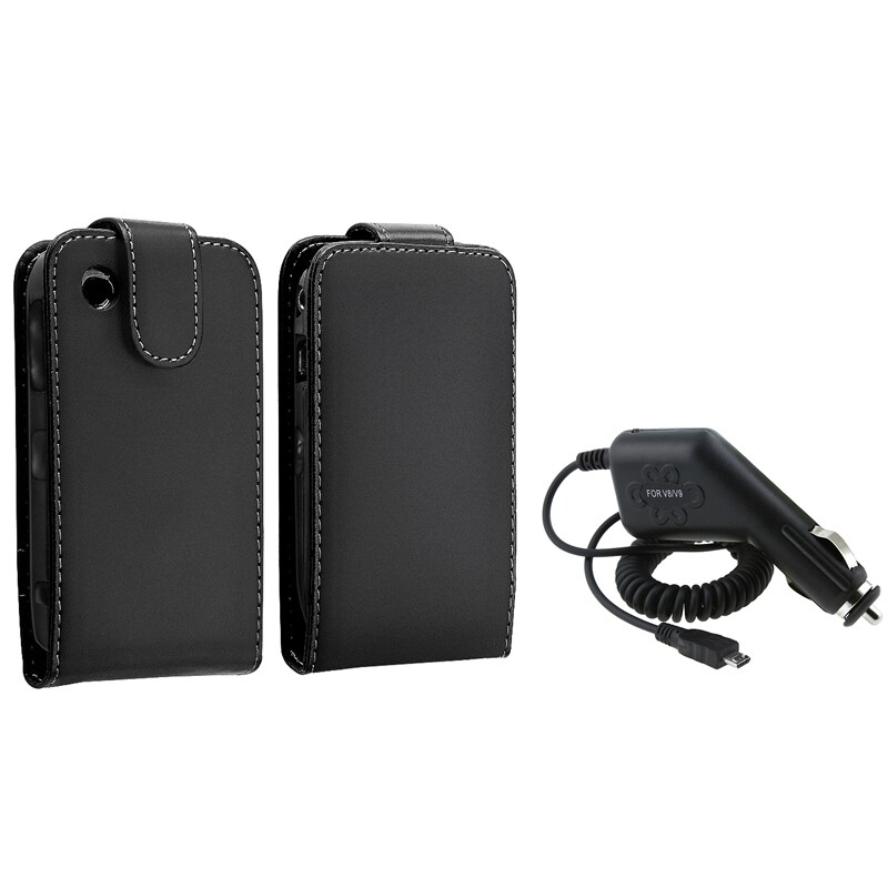 Black Leather Case/ Car Charger for BlackBerry Curve 8520/ 9300