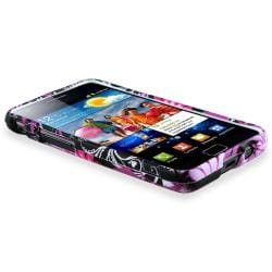 Black/ Pink Rubber Case/ Car Charger for Samsung Galaxy S II i9100 - Thumbnail 2