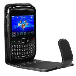 Black Leather Case/ Car Charger for BlackBerry Curve 8520/ 9300 - Thumbnail 2