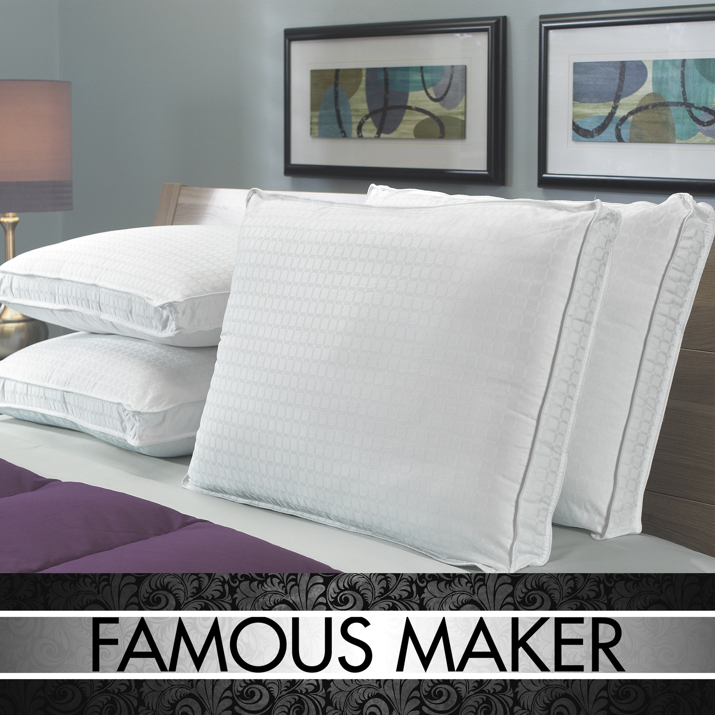Famous Maker High Loft 305 Thread Count Pillows (Set of 4)