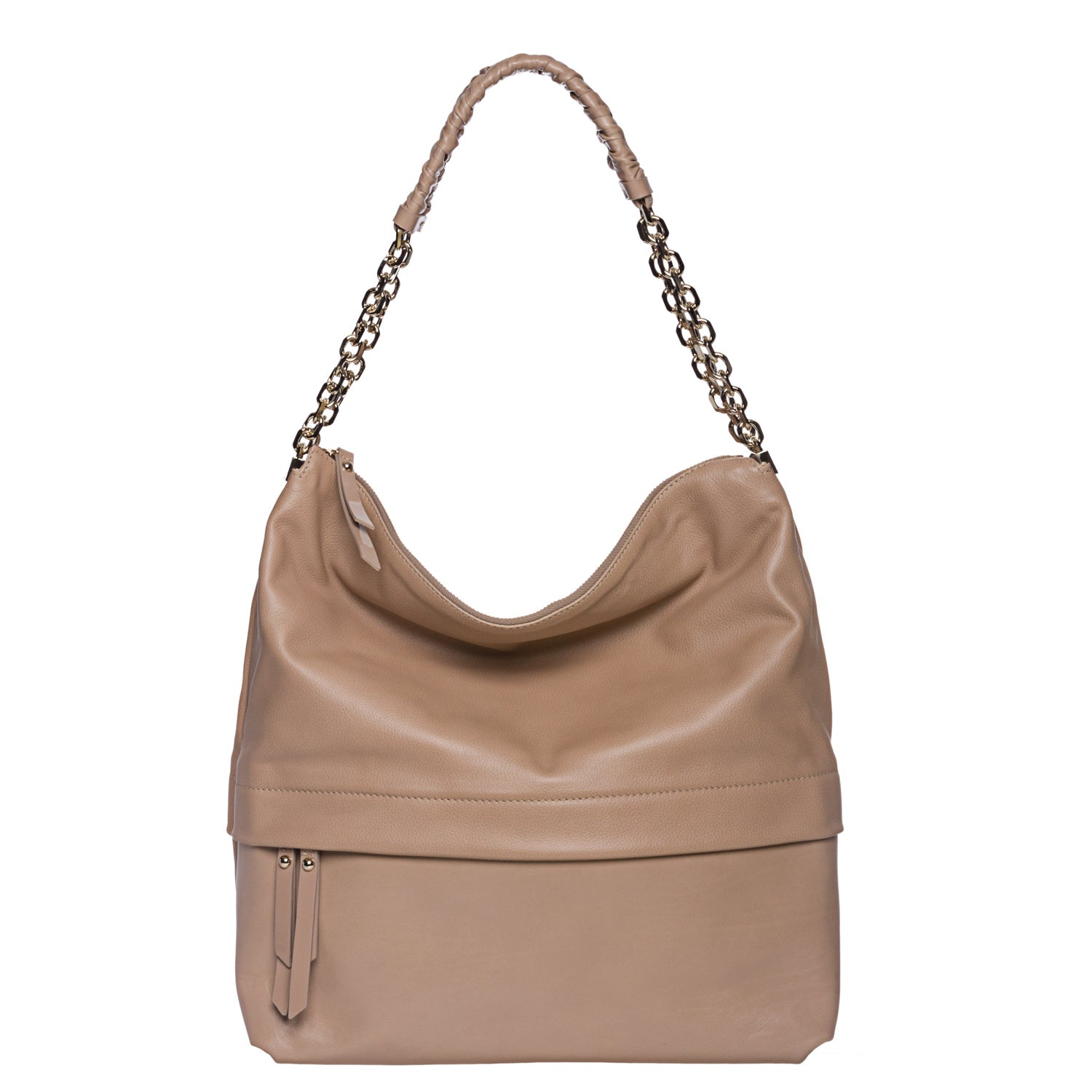 Christian Louboutin 'Marianne' Beige Leather Hobo Bag