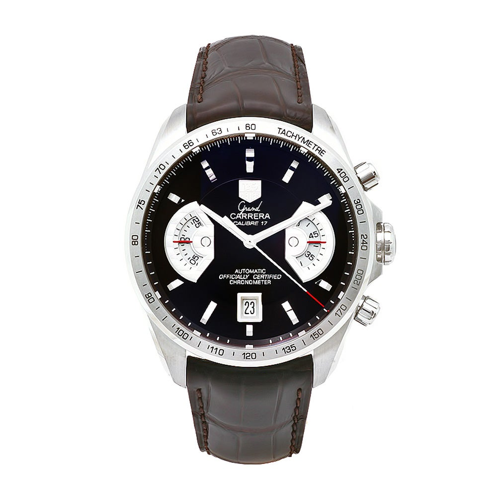 31e44dc61a2 Shop Tag Heuer Men's CAV511E.FC6231 'Grand Carrera' Chronograph Automatic  Brown Leather Watch - Free Shipping Today - Overstock - 6823029