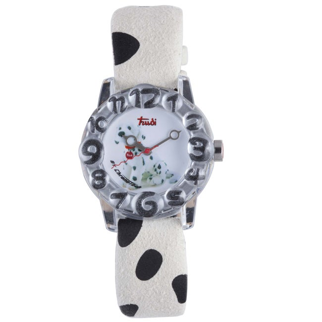 Trudi Italy Kids White and Black Suede Watch