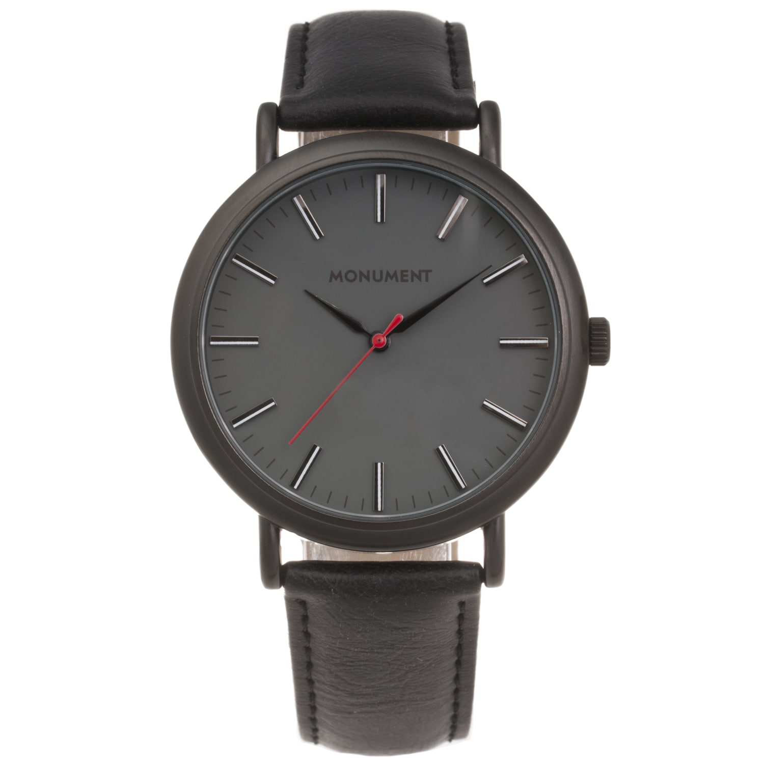 Monument Men's Grey Dial Synthetic Leather Strap Watch