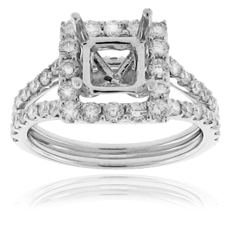 14k White Gold 1ct TDW Semi-mount Diamond Engagement Ring (G-H, SI-1/SI-2)