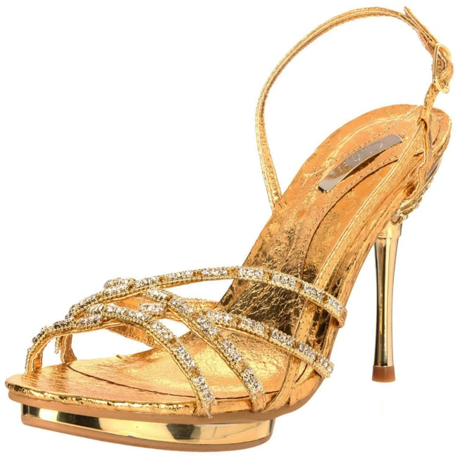 Celeste Women's 'Joyce-01' Gold Rhinestone Slingbacks