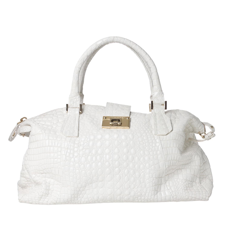 Jimmy Choo X27 Romeo White Leather Travel Bowler Bag