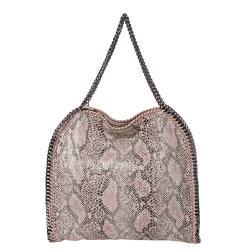 Stella McCartney 'Falabella' Python Printed Canvas Tote Bag