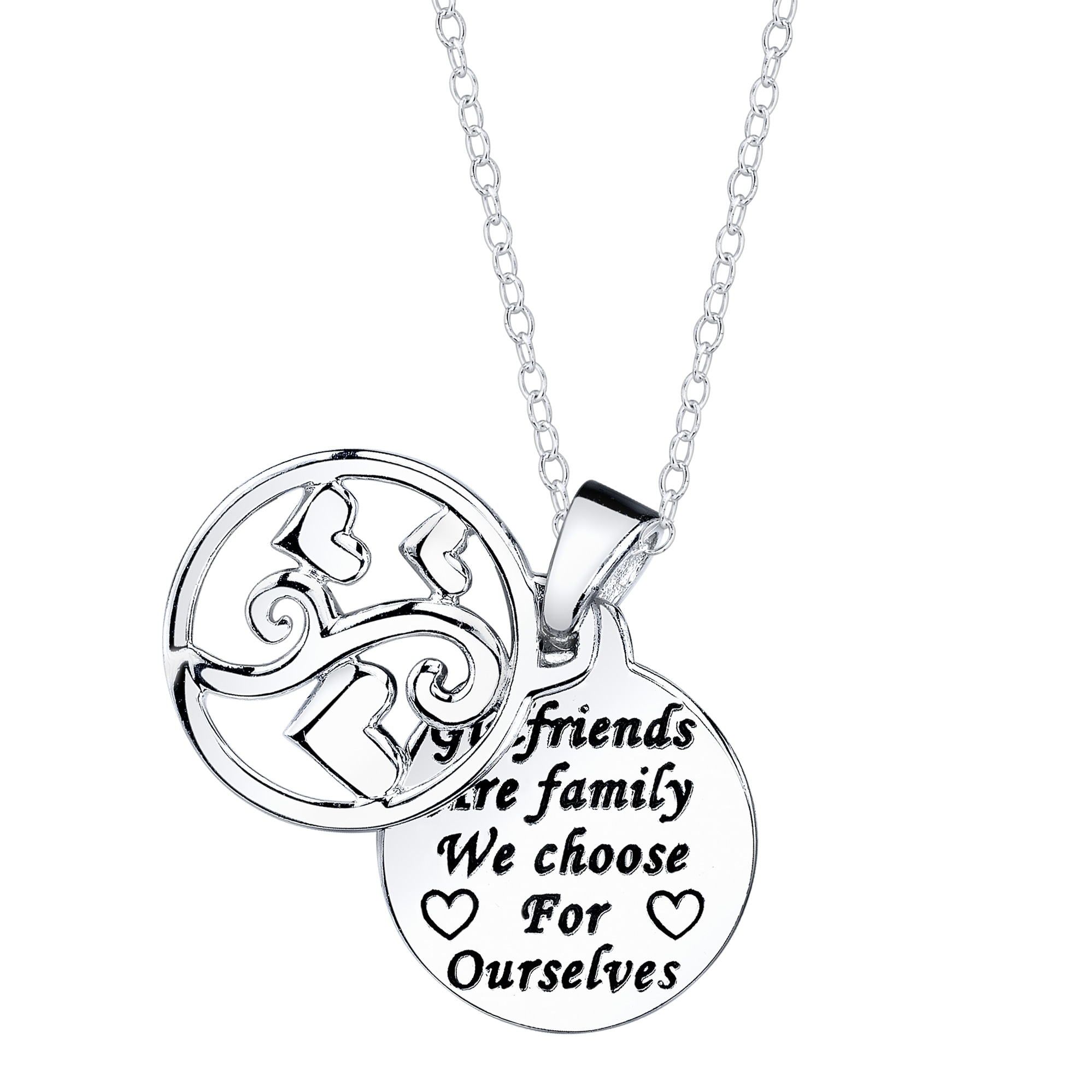 Sterling Silver 'Girlfriends are family we choose for ourselves' Round Necklace