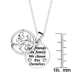 Sterling Silver 'Girlfriends are family we choose for ourselves' Round Necklace - Thumbnail 2