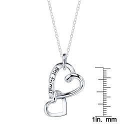 Sterling Silver 'Best Friends' Linked Two Heart Necklace - Thumbnail 2
