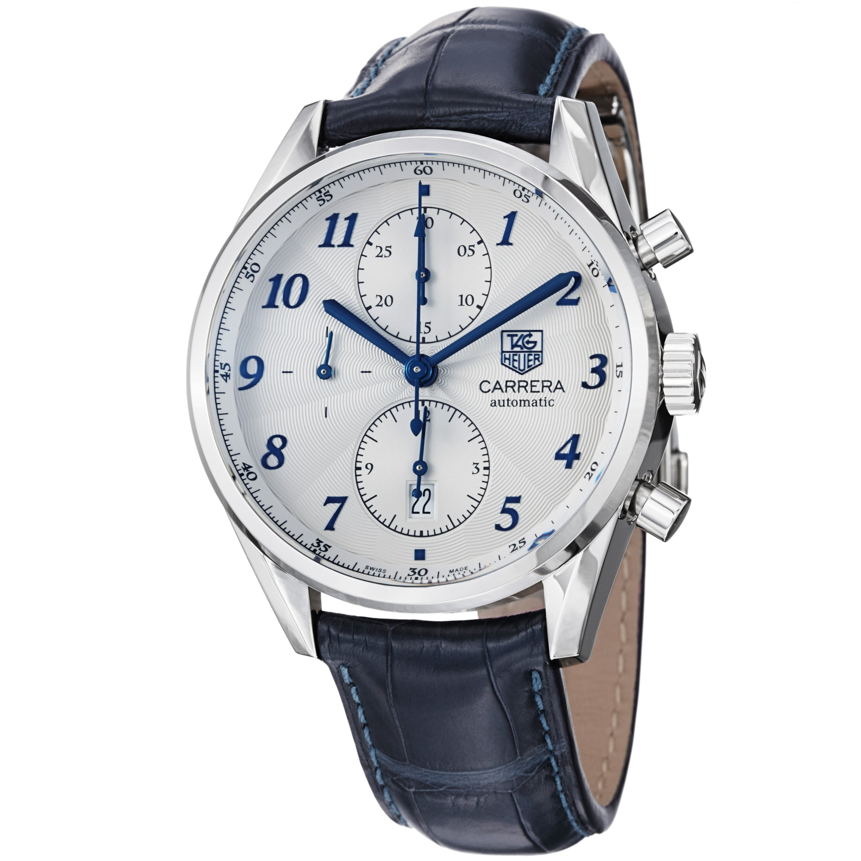 Tag Heuer Men's 'Carrera' Silver Dial Blue Strap Automatic Watch