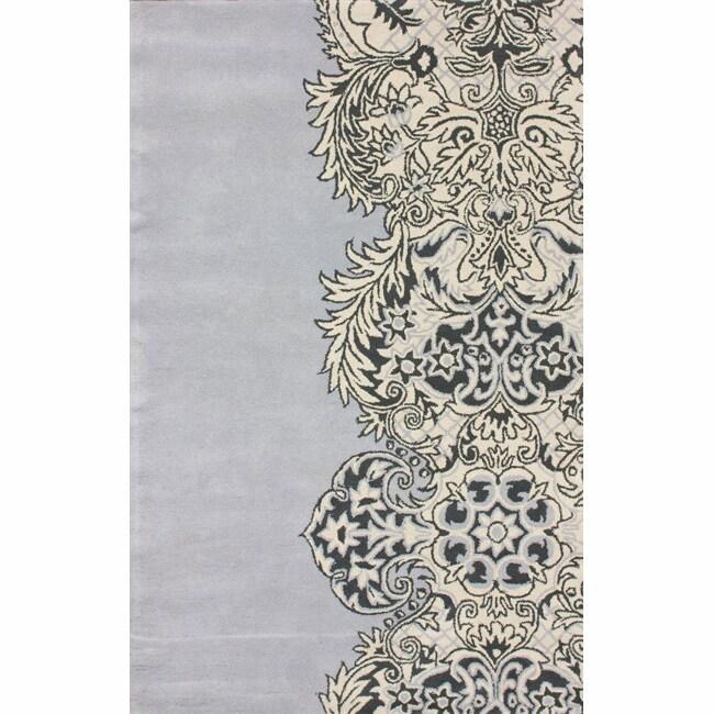 nuLOOM Handmade Damask Grey Wool Rug (7'6 x 9'6)