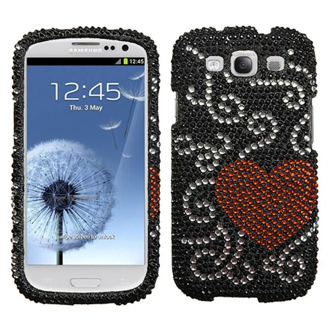 MyBat Samsung Galaxy S III / S3 Curve Heart Rhinestone Case