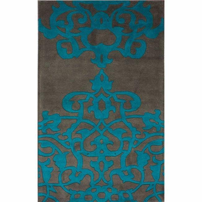 nuLOOM Handmade Crown Turquoise Wool Rug (7'6 x 9'6)