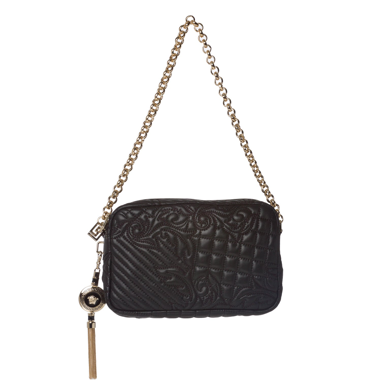 Versace 'Vanitas' Quilted Black Leather Shoulder Bag