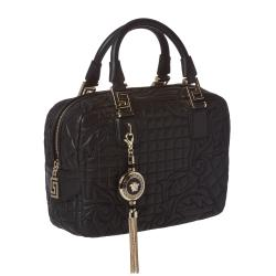 Versace 'Vantias' Quilted Black Leather Satchel Bag