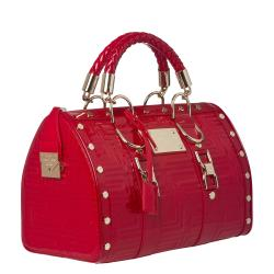 Versace Stitched Red Patent Leather Handbag
