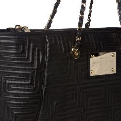 Versace Quilted Black Leather Tote Bag - Free Shipping Today ...