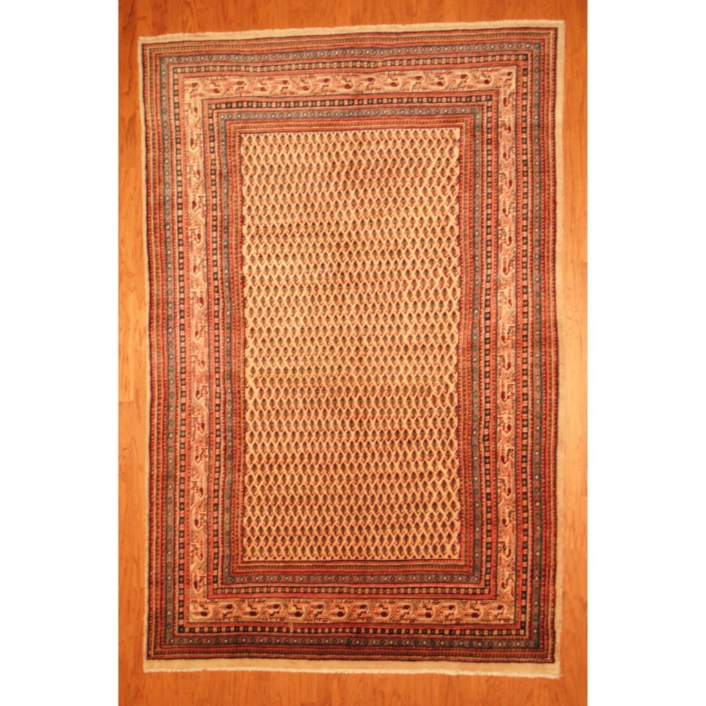 Persian Hand-knotted Tribal Mir Ivory/ Blue Wool Rug (6'10 x 10'7)