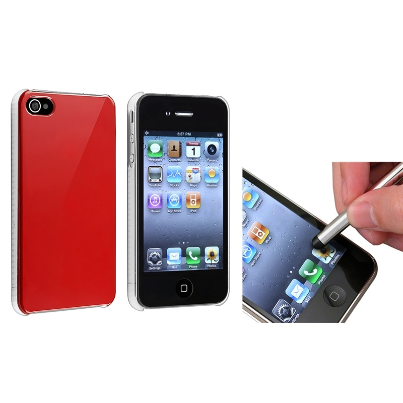 Shiny Red Snap-on Case/ Silver Stylus for Apple iPhone 4/ 4S