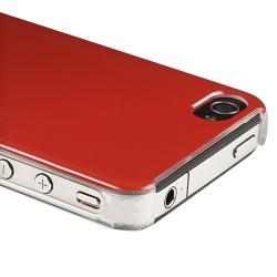 Red Shiny Snap-on Case/ Car Charger for Apple iPhone 4/ 4S