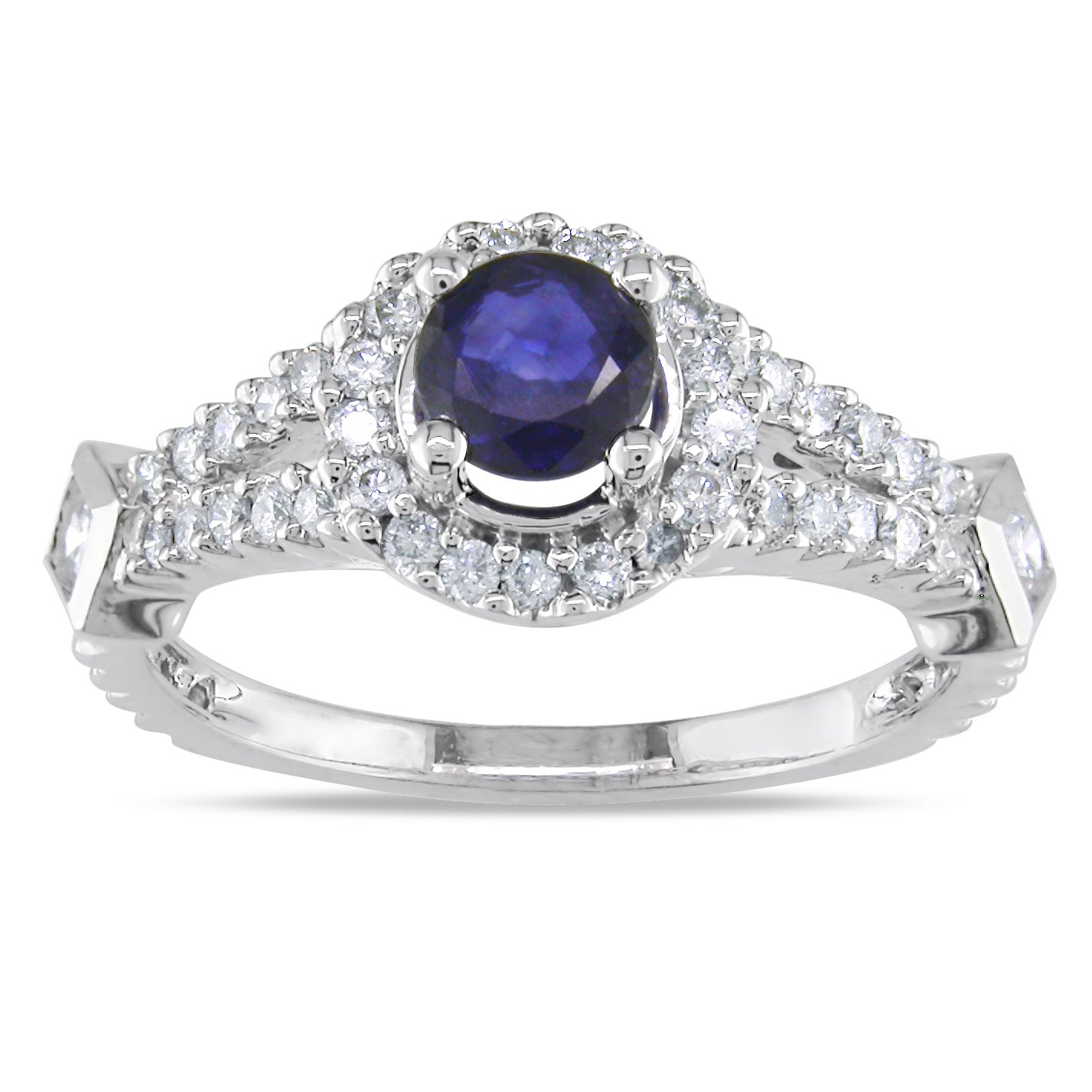 Miadora Midadora 18k White Gold 1 1/10ct TGW Sapphire and 1/2ct TDW Diamond Ring (G-H, SI1-SI2) - Thumbnail 0