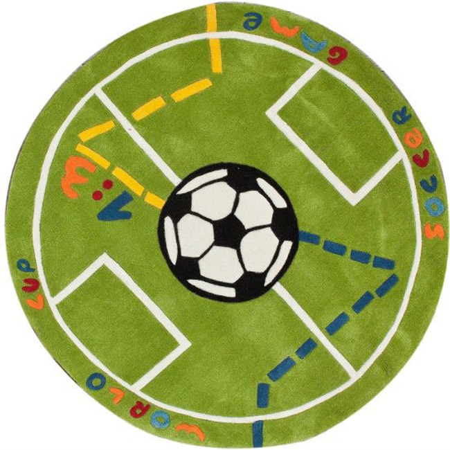NuLOOM Handmade Kids Soccer Field Green Rug (4'3 Round