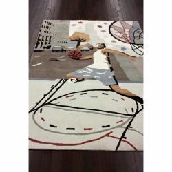nuLOOM Handmade Kids Basketball Ivory Rug (3'6 x 5'6) - Thumbnail 1