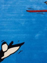 nuLOOM Handmade Kids Diving Penguin Blue Rug (3'6 x 5'6)