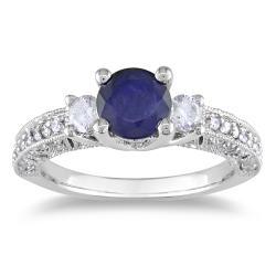 Miadora 14k White Gold 1 1/10ct TGW Sapphire and 1/2ct TDW Diamond Ring (G-H, I1-I2)