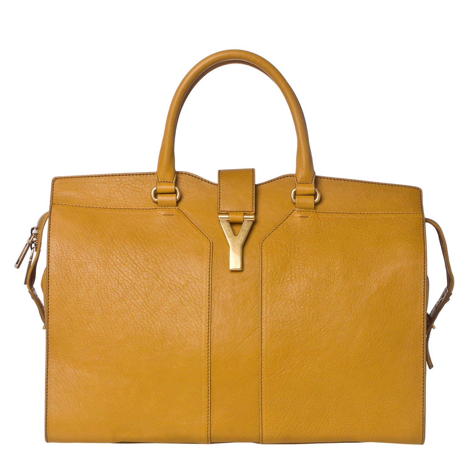 Yves Saint Lau X27 Cabas Chyc Large Mustard Leather Tote