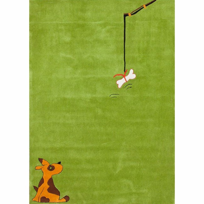 nuLOOM Handmade Kids Dog Green Rug (5' x 7')