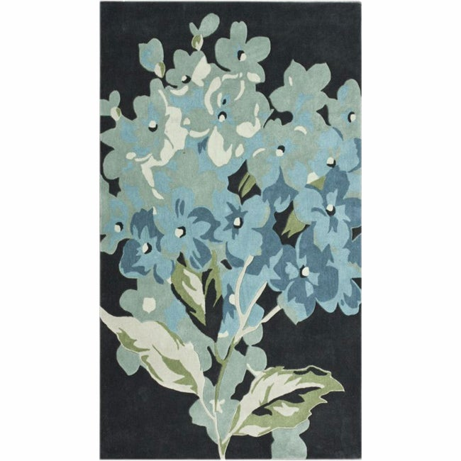 nuLOOM Handmade Blossom Charcoal Rug (5' x 8')