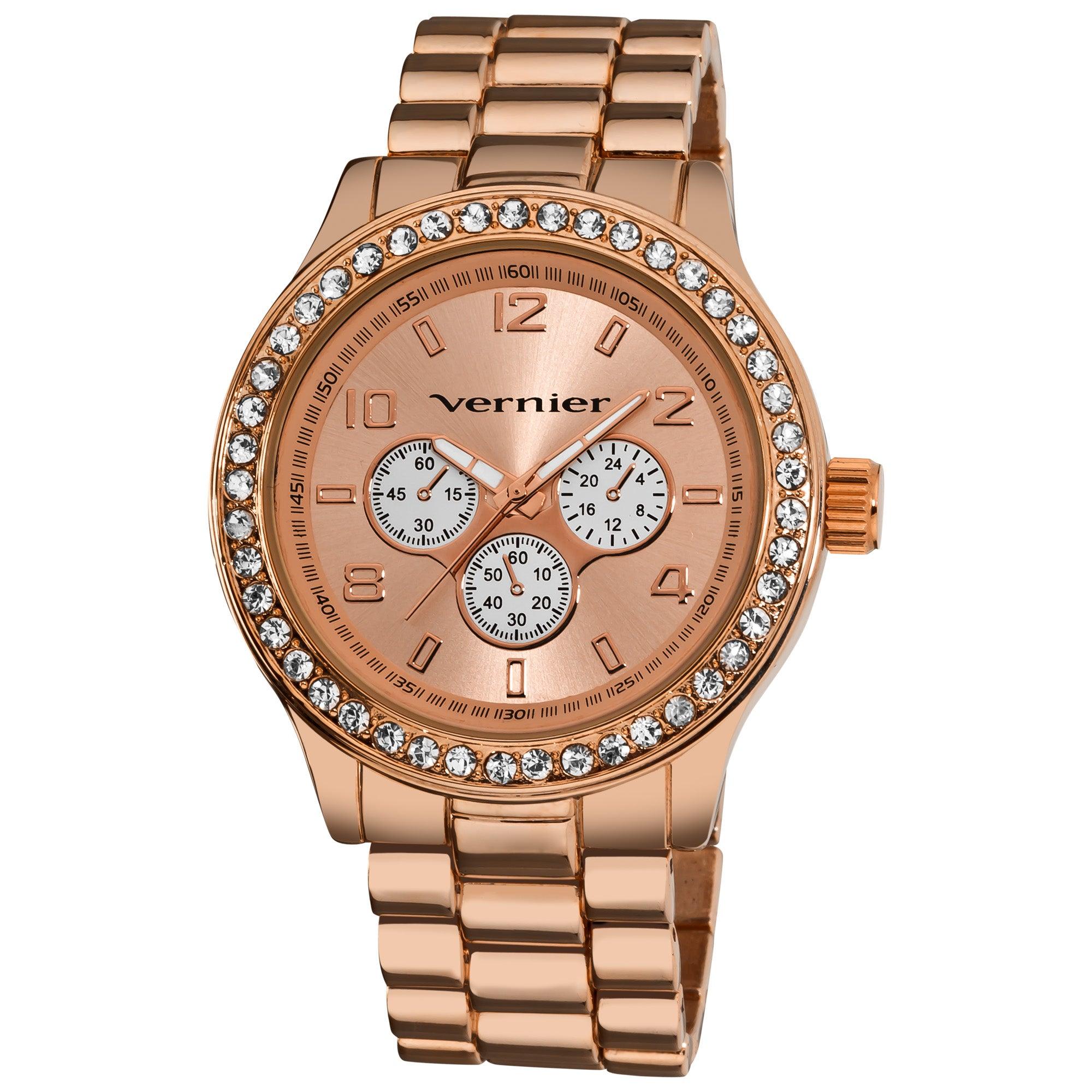 Vernier Women's V11088 Rose Gold Chrono Look Glitz Bracelet Quartz Watch